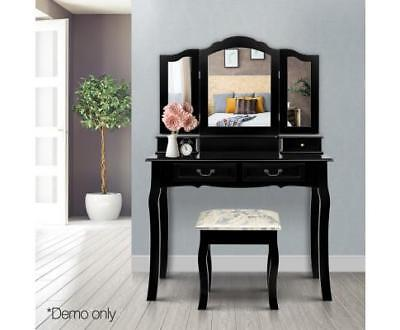 Luxury 4 Drawer Dressing Table with Mirror - Black