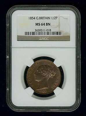 Great Britain Victoria  1854  1/2 Penny, Uncirculated, Certified Ngc Ms64-Bn