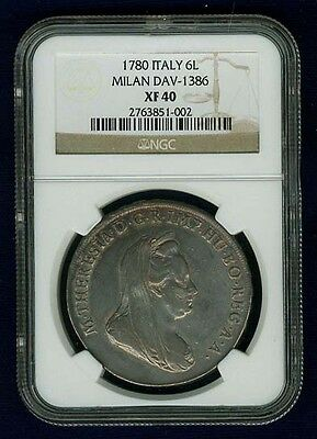 """Italy Milan Maria Theresa 1780 """"scudo"""" (6 Lire) Silver Coin, Ngc Certified Xf40"""