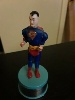 "VTG 1960s KOHNER Push Puppet SUPERMAN Toy w/ Cape ""S"" Label Chest Logo"