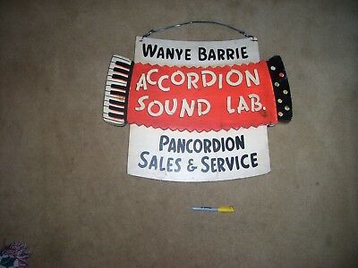 Old Wooden Vintage Accordion Music Store Sign 1950's 1960's
