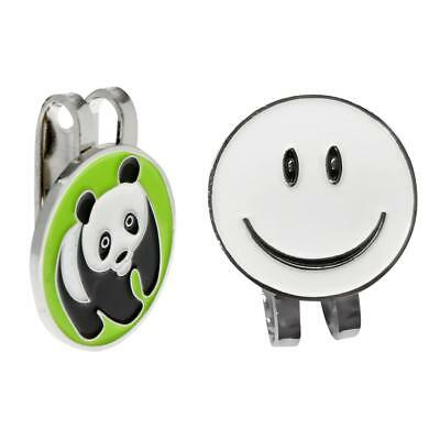2pcs Magnetic Hat Clip with Smile Face & Cartoon Panda Golf Ball Markers