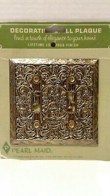 Vintage  Antique  Double Light Switch Plate  Cover Ornate Pearl Made Retro Sr-1