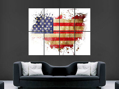 Map Of The Usa Poster Star And Stripes Artistic  Picture Wall Image Art Print