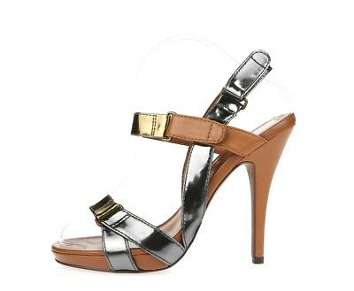 e9c9a7217aaa1 WOMENS LUXURY REBEL Stylish Metallic Strappy Sandals Shoes Sz. 39.5 M