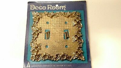 Vintage Double Light Switch Plate Cover NOS DECO ROOM FLORENTINE FLOWERS SR-1