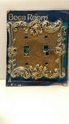 Vintage Double Light Switch Plate Cover NOS DECO ROOM American Tack Retro SR-1