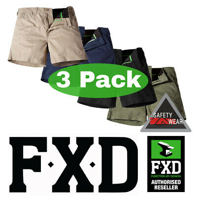 3 x FXD WS2 Short Work Shorts Stubbies Style - Green Khaki Navy Black