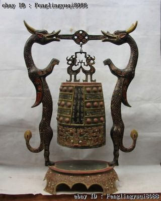 Chinese Royal Bronze Painted Beast Pattern Two Dragon Hoist Bell Chime Statue