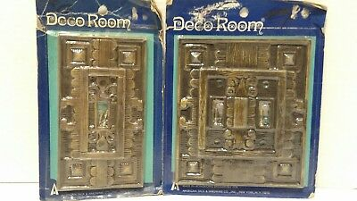 Vintage Double + Single Light Switch Plate Cover NOS DECO ROOM  Walnut SR-1