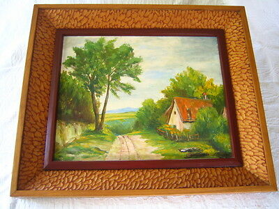 Vintage Oil On Board Painting  Ornate Wood Carved Hand Chisiled Antique Frame
