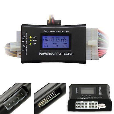 LCD PC Computer 20/24 Pin 4 PSU ATX BTX ITX SATA HDD Power Supply Tester OI