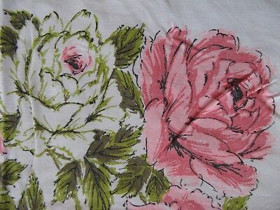 Vintage Pink Cabbage Roses Tablecloth Gorgeous! 58x52 Cotton Shabby Chic Cottage