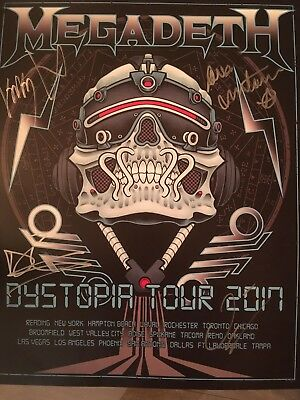 Megadeth autographed world tour poster ''DYSTOPIA''  VIP package 2017