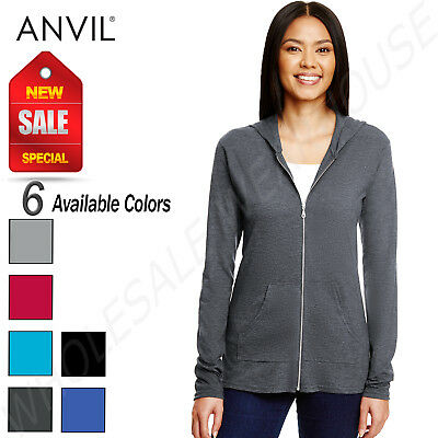 NEW Anvil Women's Triblend Full Zip Hooded Jacket M-6759L