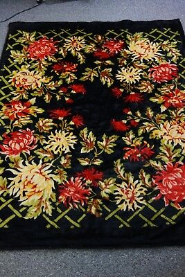 Victorian Stroock Carriage Blanket- Black- Chrysanthemums/Spider Mums- SALE
