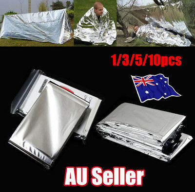 1-10x Space Blanket Thermal Thermo Foil Emergency Survival Rescue First Aid ON
