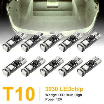 10Pcs Yellow T10 W5W 3030-SMD-LED Light Bulbs Car Wedge Panel Instrument Lamps