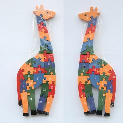 Toys New Numeral Jigsaw Kids Learning Letter Puzzle Toy Puzzle Giraffe Wooden