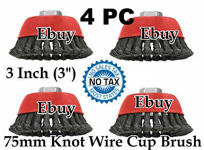 """4 Cup Twist Knot Wire Cup Brush Wheel 3"""" 75mm for 115mm - 4-1/2"""" Angle Grinder"""
