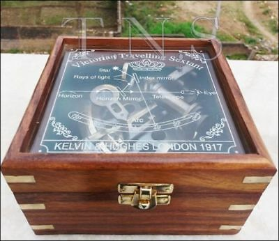 """Nautical Maritime Sextant w Glass top Wooden Box Brass Antique Astrolabe 4"""" Gift"""