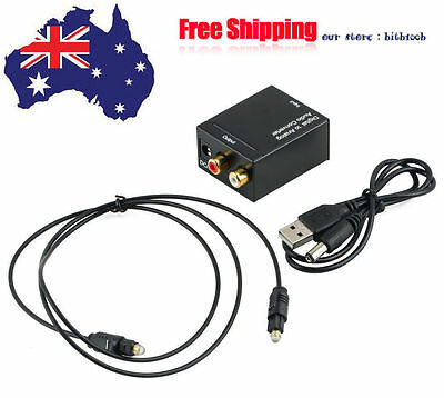 Coaxial RCA Digital Optical Toslink Signal to Analog Audio Converter Cable F#