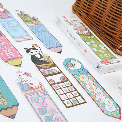 30 Pcs/box Cartoon Animal Love to learn the cat Styles Bookmarks Message Card