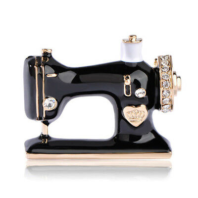 Suit Women Accessories Pin Sewing Machine Brooch Black Enamel Brooch Jewelry