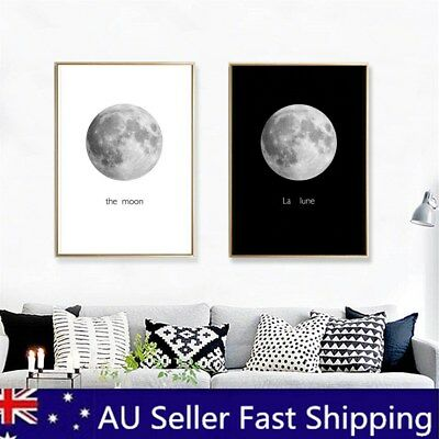 Unframed Black&White Moon Canvas Painting Print Home Room Wall Picture Art Decor