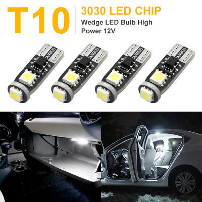 4Pcs T10 W5W Bright White 3030-SMD Car Light Bulbs Map Reading Dome Lamp 194 168