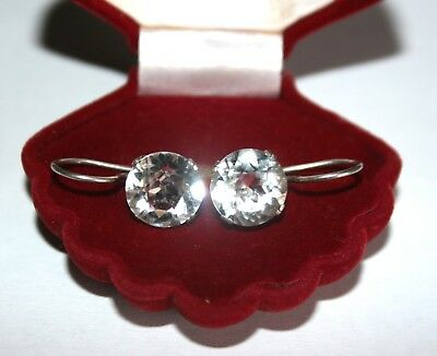 SUPER SHINING Rock Crystal Soviet USSR  Vintage EARRINGS SILVER RARE Antique
