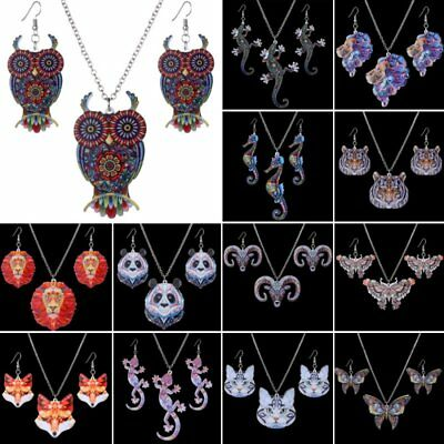 Printing Animal Cat Owl Butterfly Lizard Pendant Necklace Earrings Jewelry Set