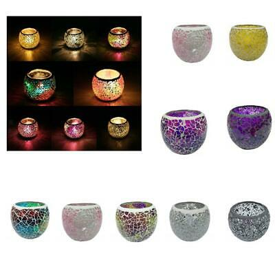 Mosaic Glass Candle Holder Cup Candlestick Votive Tealight Candle Base Holder