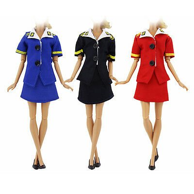 Stewardess Dress Handmade Clothes For Barbie Doll Toy Party Gift Black 2018