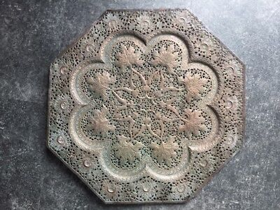 Antique Vintage Intricately Pierced Kashmiri Copper Large Octagonal Tray