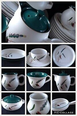 DENBY Greenwheat tableware. Plates, cups, soup bowl, coffee pot, casserole dish+