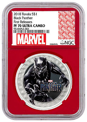 2018 Black Panther 1 oz Colzd Silver Marvel $1 NGC PF70 FR Red Core SKU52392