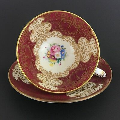 Crown Staffordshire Footed Teacup And Saucer Red Floral Gold Trim Made In Eng