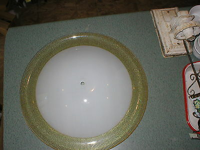 """Vintage 19"""" Art Deco Frosted Glass Yellow Stripe Shade Ceiling Light Fixture"""