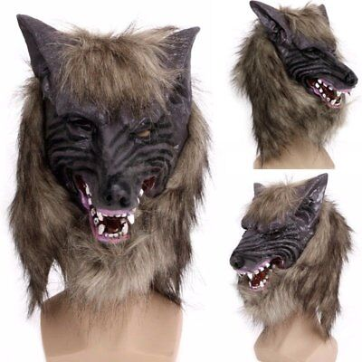 Latex Animal Wolf Head With Hair Mask Fancy Dress Costume Party Scary Hallowe FZ
