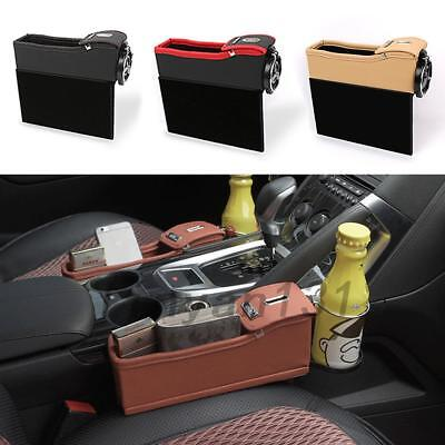 New Leather Car Side Console Coin Card Organizer Cup Holder Seat Catcher AU