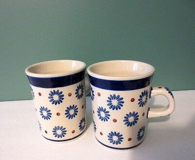 Fabulous NEW Pretty Pair of White, Blue & Red Coffee Mugs - Handmade in Poland