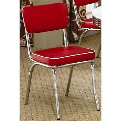 1950's Diner Chairs Red 2 Set Retro Style Decor Dining Kitchen Table Side Seats