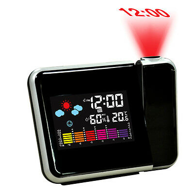 Digital Weather LCD Projection Snooze Alarm Clock with Colorful LED Backlight UZ