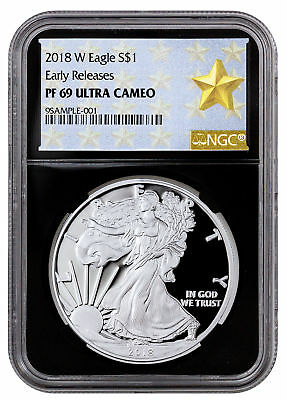 2018-W Proof American Silver Eagle NGC PF69 UC ER Black Core Gold Star SKU52232