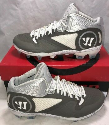 $145 Warrior Adonis 2.0 Mens Size 10 Lacrosse Lax Cleats White Grey New