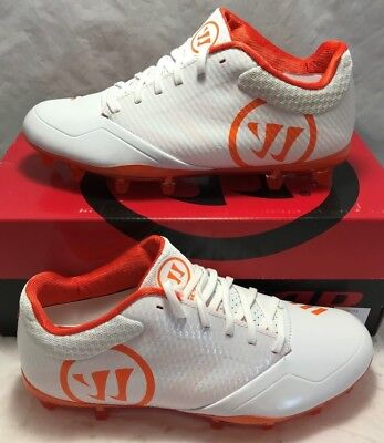 Warrior Mens Size 8 Burn 9.0 Lacrosse Lax Cleats White Orange Low New