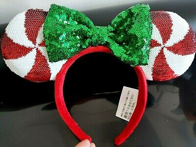 Disney  Lollipop Candy Cane Cutie Green BOW Minnie Mouse Ears Hat Headband