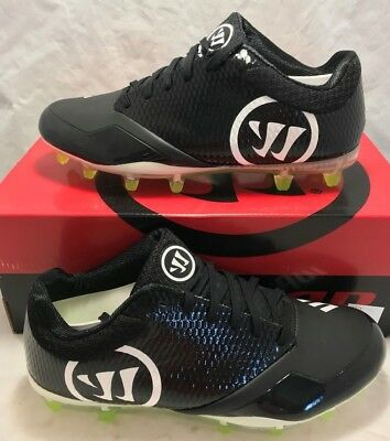 Warrior Mens Size 11.5 Burn 9.0 Lacrosse Lax Cleats Black White Volt Low New