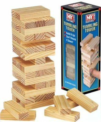 WOODEN STACKING TUMBLING TOWER GAME LIKE JENGA KID FAMILY TRADITIONAL BOARD 48pc